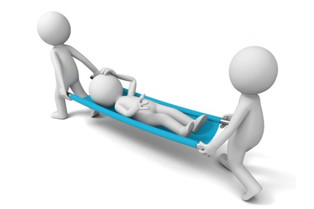 Graphic of patient being carried on stretcher