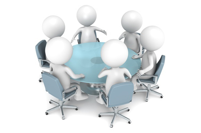 Graphic of figures meeting around a table